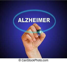 ALZHEIMER - writing word ALZHEIMER with marker on gradient...