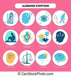 alzheimer, style, icônes, ensemble, maladie, plat, symptômes