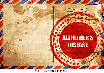 Alzheimer's disease background, red grunge stamp on an airmail b