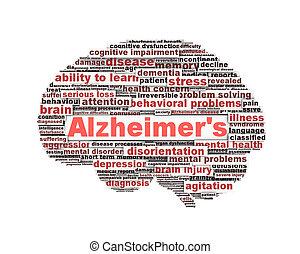 alzheimer's, символ, концепция, сообщение, болезнь