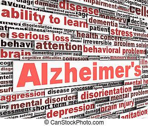 alzheimer's, сообщение, дизайн, болезнь
