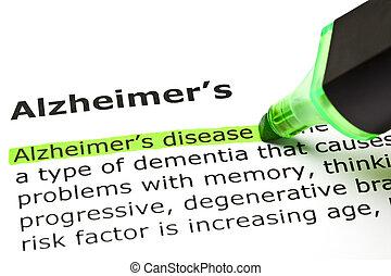 'alzheimer's', 'alzheimer's, disease', debajo