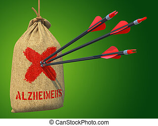 Alzheimers - Three Arrows Hit in Red Mark Target on a Hanging Sack on Green Background.
