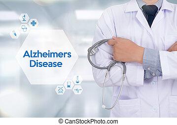 alzheimers, cerveau, parkinson, maladie, maladies, concept, ...
