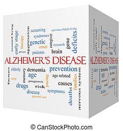 Alzheimer's Disease 3D cube Word Cloud Concept