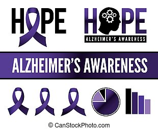 Alzheimer's Disease Awareness Icons - Alzheimer's disease...