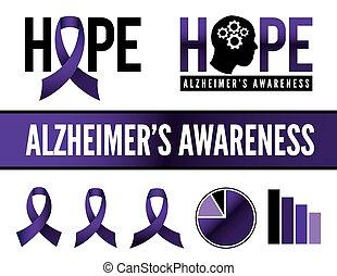 Alzheimer's Disease Awareness Icons - Alzheimer's disease...