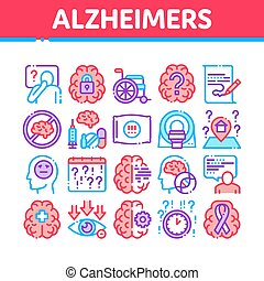 Alzheimers Disease Collection Icons Set Vector