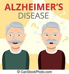 Alzheimers disease concept background, cartoon style