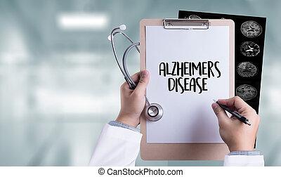 Alzheimers Disease concept , Brain degenerative diseases Parkinson