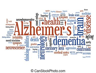 Alzheimer's disease - elderly health concepts word cloud illustration. Word collage concept.