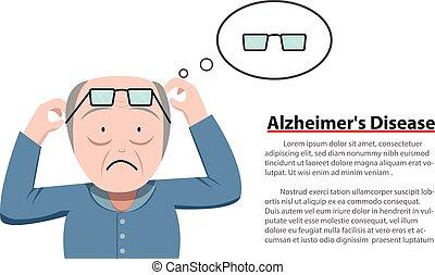 Alzheimer's Disease in old man, vector