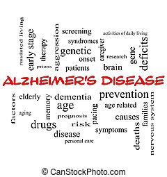 Alzheimer's Disease Word Cloud Concept in red caps with great terms such as elderly, genetic, dementia and more.