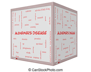 Alzheimer's Disease Word Cloud Concept on a 3D cube Whiteboard