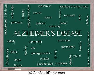 Alzheimer's Disease Word Cloud Concept on a Blackboard