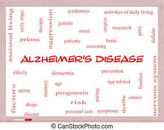 Alzheimer's Disease Word Cloud Concept on a Whiteboard