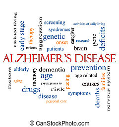 Alzheimer's Disease Word Cloud Concept with great terms such as elderly, genetic, dementia and more.