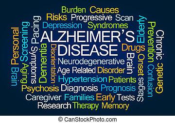 Alzheimer's Disease Word Cloud on White Background