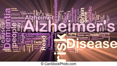 Alzheimer\'s disease wordcloud glowing