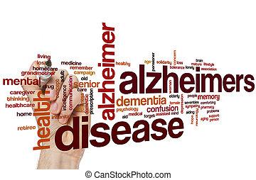 alzheimers ziekte, woord, wolk
