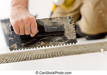 amélioration, pose, -, bricoleur, carreau, rénovation du logement