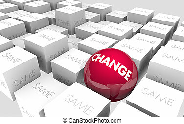 améliorer, cubes, innover, sphère, vs, illustration, même, 3d, changement, adapter