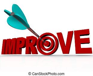 améliorer, flèche, dans, cible, -, réussi, amélioration, but