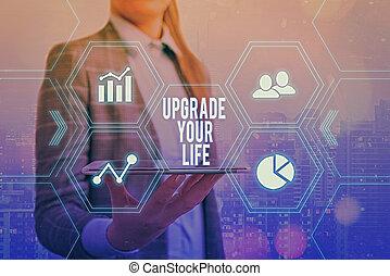 améliorer, signification, texte, manière, happier, haut, grilles, icônes, concept, différent, vivant, numérique, ensemble, écriture, dernier, obtenir, plus riche, amendement, ton, life., technologie, concept.