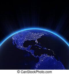 américa central, e, eua, luzes cidade, à noite