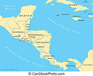 américa central, político, mapa