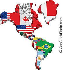 américa, continente, y, banderas