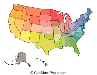 américa, cores, eua, estados, em branco, arco íris, espectro, mapa, unidas