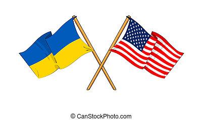 américa, e, ucrânia, aliança, e, amizade
