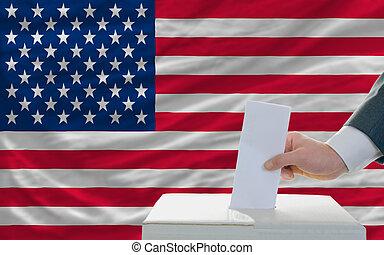américa, elecciones, hombre, votación