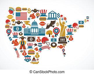 américa, mapa, con, muchos, vector, iconos