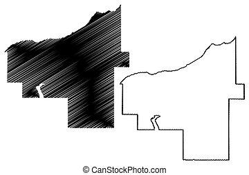 américa, mapa, condado, estados unidos, us), ilustración, u..s.., ontonagon, estados unidos de américa, vector, bosquejo, garabato, michigan, (u.s.