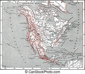 américa, mapa, engraving., norte, vindima