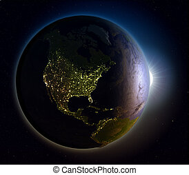 américa, norte, amanhecer, acima, espaço