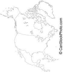 américa, norte, contorno