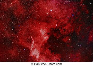 américa, norte, nebulosa, ngc7000
