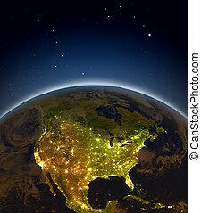 américa, norte, noche