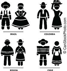 américa, roupa, traje, sul
