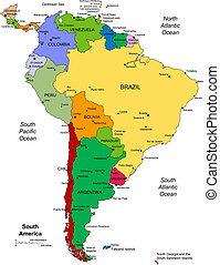 américa sul, com, editable, países