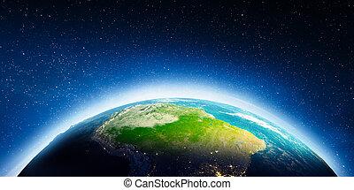 américa, sul, espaço
