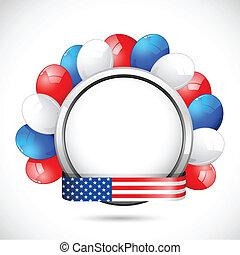 américain, écusson, ballon