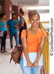 américain, étudiant féminin, africaine, collège