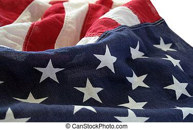 américain, 2, vieux, drapeau