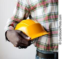 américain africain, à, construction, casque