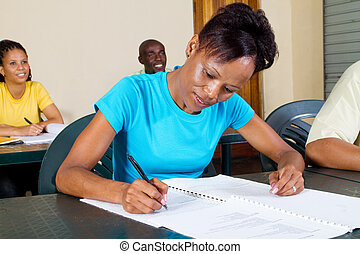 américain africain, adulte, étudiants
