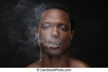 américain africain, bouche, fumée, venir, homme, dehors